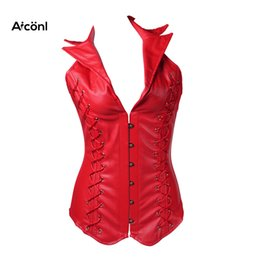 b3417017b Corset for Women gothic steampunk Bustiers sexy plus size leather corset  top women clothing Push up Chest Slimming Waist