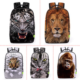$enCountryForm.capitalKeyWord Canada - Wholesale 3D Animal Lion   Leopard Prints Back Men Women Sports Waterproof Mochilas Students School Bag For Girls Boys Travel Backpack