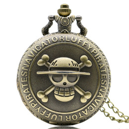 watches anime 2019 - Bronze Steampunk Skull One Piece Pocket Watch Cartoon Anime Watch Pocket Quartz Fob Wholesell cheap watches anime