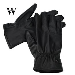 Wholesale Men Fashion Warm Cashmere PU Leather Male Winter Gloves Driving Waterproof Black Glove Jun