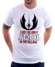 cdb3189b The only JEDI in the village funny white cotton t-shirt FN9430 Top Tees  Custom Any Logo Size Print T-Shirt Mens Short