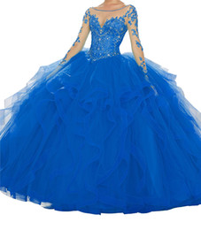 $enCountryForm.capitalKeyWord UK - Quinceanera Dresses Treasure Blue Sexy Heart-shaped Collar Leaky Back Long Sleeve Penthouse Skirt Multilayer Lace Lace with Lace Necklace