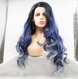 Lace Wig Blue Ombre Australia - Premier Affodable Lace Front Wigs Black Blue White Ombre Color High Temperature Synthetic Hair Wigs Long Wave Hairstyle