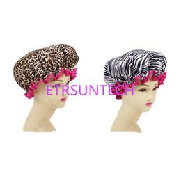 Zebra hairs online shopping - Women Waterproof Shower Cap Leopard Zebra Printing Elastic Hat Hair Bath Spa Salon Shower Caps for Ladies Girl QW8008