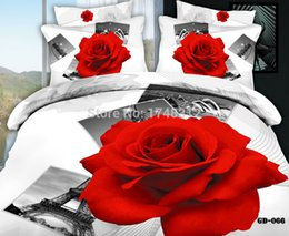 Black White Rose Bedding Canada - New Luxury Red Rose and Paris Eiffel Tower Bedding Duvet Cover Bed Sheets Pillowcase Queen Super king Size 3-6 pcs Bedding Set 1