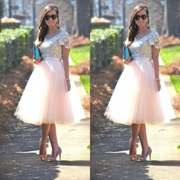 $enCountryForm.capitalKeyWord Australia - Cheap Prom Party Dresses with Short Sleeves Lace Top Blush Tutu Skirts Tea Length 2017 Formal Evening Gowns Bridesmaid Dresses