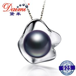 Natural Pearls Pendant NZ - Daimi Flower Pearl Pendant Natural 11-12MM Freshwater Pearl Pendant Necklace White black grey pink purple Brand Jewelry Y1892806
