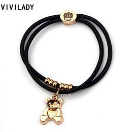 Bored Hair UK - VIVILADY Fashion Bear Charms Bracelets Bangle Women Strong Elastic Black Rope Heart Elephant Key Rose Crown Hair Bands Gift