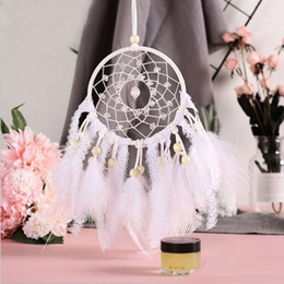 marriage wedding car NZ - White Lace Dreamcatcher Circular With Feathers Crystal Bead Wind Chimes Net Car Pendant Hanging Wall Wedding Party Gift Home Decoration
