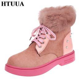e773c8b68 HTUUA Brand Fashion Pink Ankle Boots For Women Casual Lace-Up Motorcycle  Martin Boots Winter Snow Flock Flat Shoes SX1770
