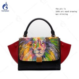c937a71a21 Gamystye Genuine Leather Handbag Women Fashion Contrast Color Medium Top  Handle Trapeze Bag Art Hand Drawing Colorful Lion Bags