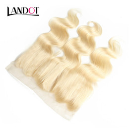 straight cambodian human hair UK - Bleach Blonde Color 613 Lace Frontal Closure 13x4 Brazilian Peruvian Malaysian Indian Cambodian Virgin Human Hair Closure Body Wave Straight