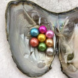 Venta al por mayor de Exquisito 6-7 mm 8 ronda de perlas de agua dulce de ostras materiales para teñir joyas como regalo de sorpresa misteriosa con paquete de vacío