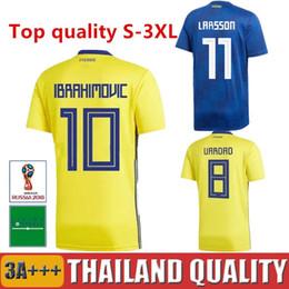 8204e17d0 2018 Sweden Soccer Jersey Zlatan Ibrahimovic Marcus BERG Maillot De Foot  2017 Kallstrom Sebastian Larsson Word Cup camisas Football Shirts