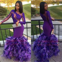 $enCountryForm.capitalKeyWord Canada - Organza Royal Blue Long Sleeves Prom Dresses 2018 Bateau Mermaid See Through Applique Lace Black Girl African Evening Gowns BA7986