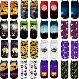 Ankle decorAtion online shopping - Halloween Short Socks D Printing Cat Pumpkin Printed Socks Children Cotton Funny Halloween Low Ankle Socks Party Favor GGA876