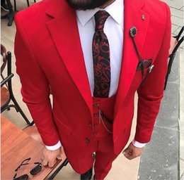 Beige Slim Suits For Men Australia - Red Wedding Mens Suits Slim Fit Bridegroom Tuxedos For Men 3 Pieces Pants +Vest +Coat Groomsmen Suit Cheap Formal Business Jackets