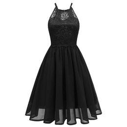 Women Party Dresses NZ - Vintage Women 1950s Lace Chiffon Pleated Dress O  Neck Sleeveless Backless f76f5bf75208