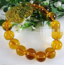 crystals for feng shui 2019 - Free shipping NEW Feng Shui Citrine Yellow Crystal Pi Yao Pi Xiu Xie Bracelet For Wealth 14mm cheap crystals for feng sh