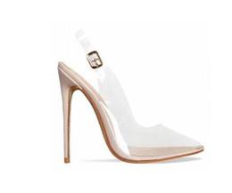 460059c09 Rosa de Ouro Branco Claro PVC Stiletto Heels Sandálias Mulheres Buckle  Strap Slingback Mulheres Bombas Dedo Apontado Sapatos de Salto Alto