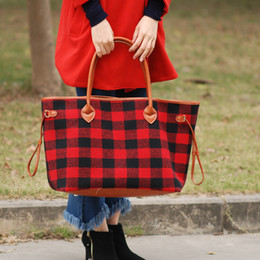 wholesale plaid fabrics Australia - Red Buffalo Plaid Handbags Large Capacity Buffalo Check Purse with PU Handle Gift Christmas Designer Purse DOMIL106377