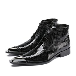 skin leather pointed men shoe Canada - Winter Shoes Genuine Leather Men Pointed Toe Men's Dress Boots Height Inceased Men's Snake Skin High Heels