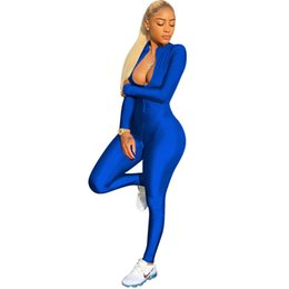 $enCountryForm.capitalKeyWord UK - Adogirl 2018 Hot Zipper Up Long Sleeve Skinny Jumpsuits Women Sexy Stand Collar Bandage Rompers Plus Size Night Club Overalls