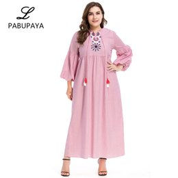 cce7141f28 Muslims Fashion Long Sleeve Loose Striped Embroidered Dress Arab Casual  Robes Abaya Maxi Dresses Flower Pattern Printed Gown