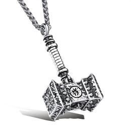 China Fashion Jewelry Vintage Man Necklaces Thor Hammer Stainless Steel Vintage Pendant Necklace Fashion Men Jewelry Necklace cheap hammered gold pendant suppliers