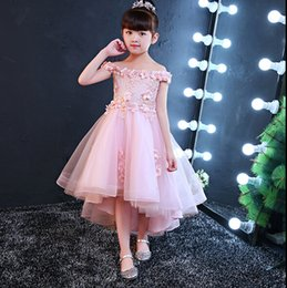 $enCountryForm.capitalKeyWord UK - Free Shipping Lace Tulle High Low Princess Flower Girl Dresses Bateau Neck Fashion Girl Dresses For Wedding Party Wholesale