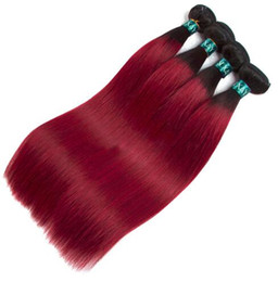 dark red human hair extensions UK - Oxette Burgundy 3 Pcs Straight 100% Human Hair Weave Extension Dark Roots Ombre Wine Red Bundles