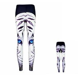 Discount girls wearing yoga pants - Women Leggings White Tiger Blue Eyes 3D Girl Skinny Stretchy Yoga Wear Pants Lady Runner Casual Soft Capris Trousers KKA