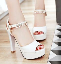 Sapatos de noiva branco da noiva à prova d 'água taiwan sapatos de peixe boca de salto alto sexy prom noite sapatos de festa shuoshuo6588 venda por atacado