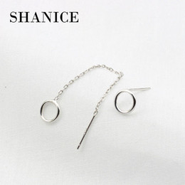 70fca07a6 SHANICE 925 sterling silver Fine Small Long Asymmetrical geometric circle  earrings square ear line ear chain allergy free