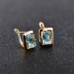 Discount blue colour earrings - Wholesale & Retail ! Gold Colour Blue Crystal CZ Fashion Jewelry Stud Earrings E095