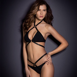 Wholesale 2018 Newest Bikini Two piece set Black Fashion Swimwear for women Halter top Tied Bondage sexy Swimsuit