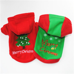 fall clothes 2019 - Pet Puppy Christmas Thickening Cap Sweater Cotton Padded Jacket In Autumn And Winter Cotton Padded Clothes Hot Sale 5hb