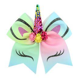 Hair Glitter Elastic Australia - 7'' Big Sequin Cheer Bows Glitter Print Flower Hair Bow With Elastic Hair Bands For Girls Accessories Children Headwear