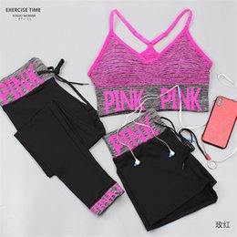 Long sports bras online shopping - Pink Letter Tracksuit Three piece set Bra Shorts Long Pants Outfit Women sports striped Underwear Crop Top Vest running Fitness Yoga sale