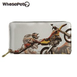 ladies leather travel wallet 2019 - WHOSEPET Biker Motorcorss Pattern Women Wallet With Zipper PU Leather Lady Purse Travel ID Card Holder Coin Purse Teen P