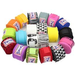 Taekwondo gloves online shopping - 2pcs pack M Boxing Wraps Twins Cotton Muay Thai Karate Bandage Wrist Kick Fight Straps Sports Sanda Guantes MMA Taekwondo Gloves F