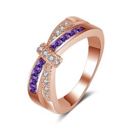 rose gold bague NZ - Crystal Rose Gold Cross Wedding Ring Bague Femme Bijoux Fashion Jewelry Purple Engagement Finger Rings Size 6-9