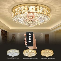 $enCountryForm.capitalKeyWord NZ - LED 3 Brightness K9 Crystal S Gold Mirror Stainless Steel Ceiling Lights Fixture Lamp Chandelier Pendant Lights With remote control