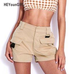 HEYounGIRL Mulheres Cáqui Calções de Cintura Alta 2018 Moda Verão Bolsos Escritório Senhoras Calções Coreano Shorts Casuais Soltas Calças Curtas S916 em Promoção