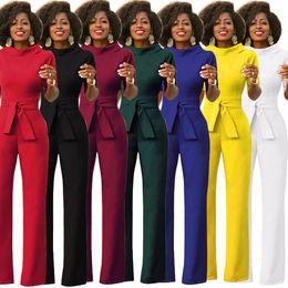 $enCountryForm.capitalKeyWord Australia - 7 Colors WOMEN Fashion Wide Legging Jumpsuits Trousers Half Sleeve and Long Pants Jumpsuits Casual Rompers Lapel Waist Belt Size S-XXL