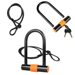 China Safety Bike U Lock Steel MTB Road Bike Bicycle Cable Lock Anti-theft Heavy Duty Set Cycling U-lock with Cable cheap bicycle u locks suppliers