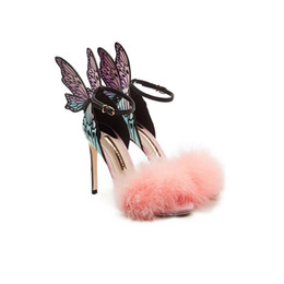 China Free shipping 2018 Ladies patent leather high heel feather Rose solid butterfly ornaments mulit Sophia Webster SANDALS SHOES colourful 34-42 suppliers