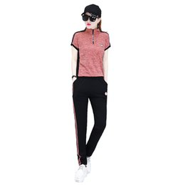 $enCountryForm.capitalKeyWord UK - Summer Women Tracksuits slim short sleeve Lapel Neck T-shirt+ long Pants Sets Pink black patchwork Pockets Elastic Waist Band