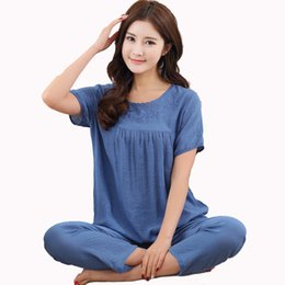 $enCountryForm.capitalKeyWord UK - Plus Size Female Pajamas Set Sleepwear Women Cotton Linen Embroider Flower 2PC Pyjamas Suit Nightwear XL XXL 3XL 4XL