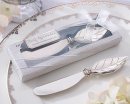 chinese navy knives Canada - (20 Pieces lot) Silver Wedding Favors and Gifts of Chrome Leaf Spreader Wedding Gift for guests For Autumn Wedding Theme
